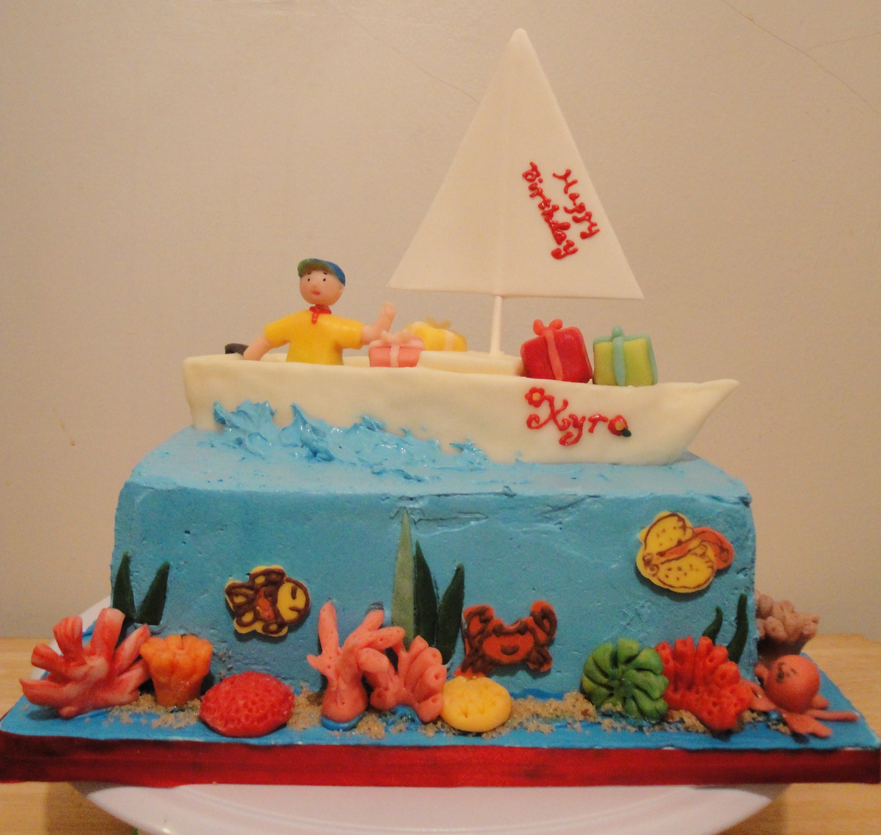 Peachy Caillou And Sailboat Birthday Cake Twee Tea Licious Funny Birthday Cards Online Elaedamsfinfo