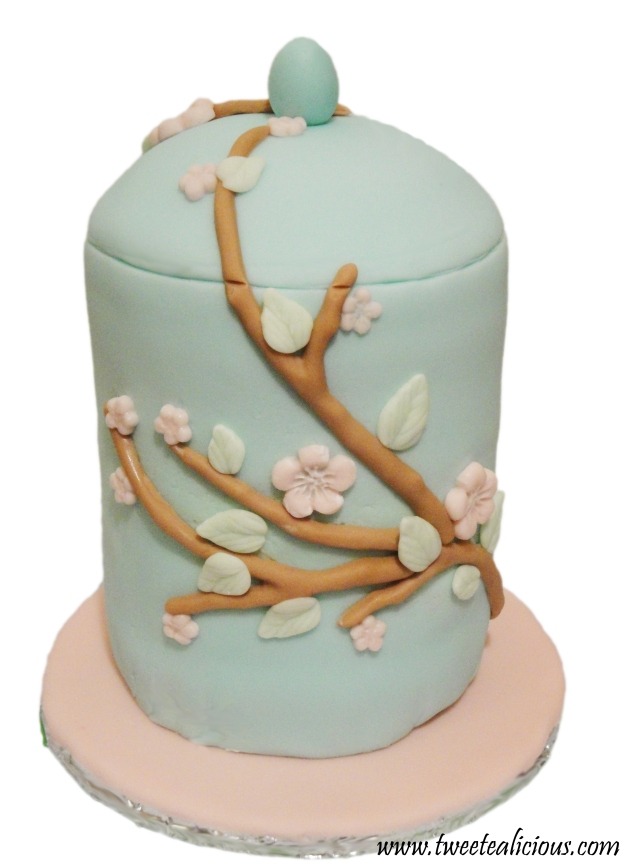Cherry Blossom Teacup Cake Back View