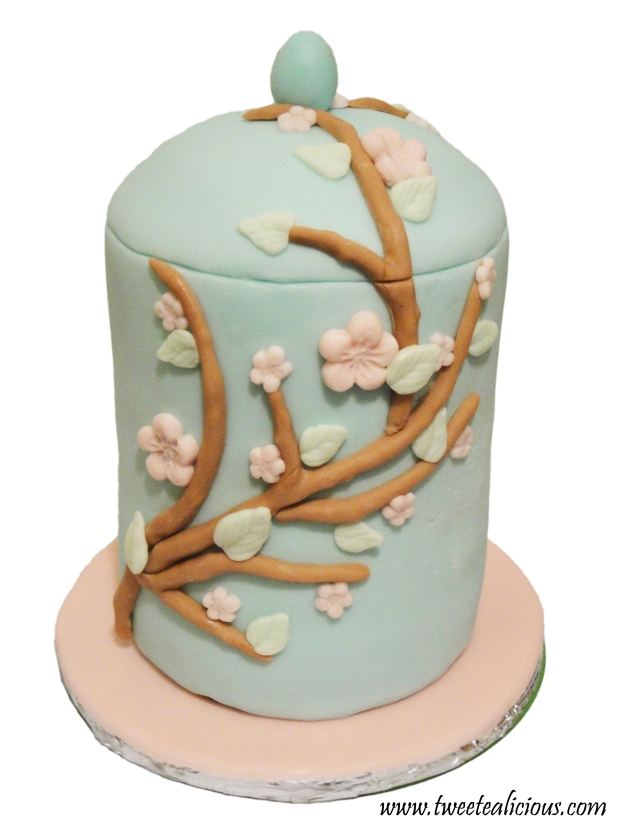 Cherry Blossom Teacup Cake Front View