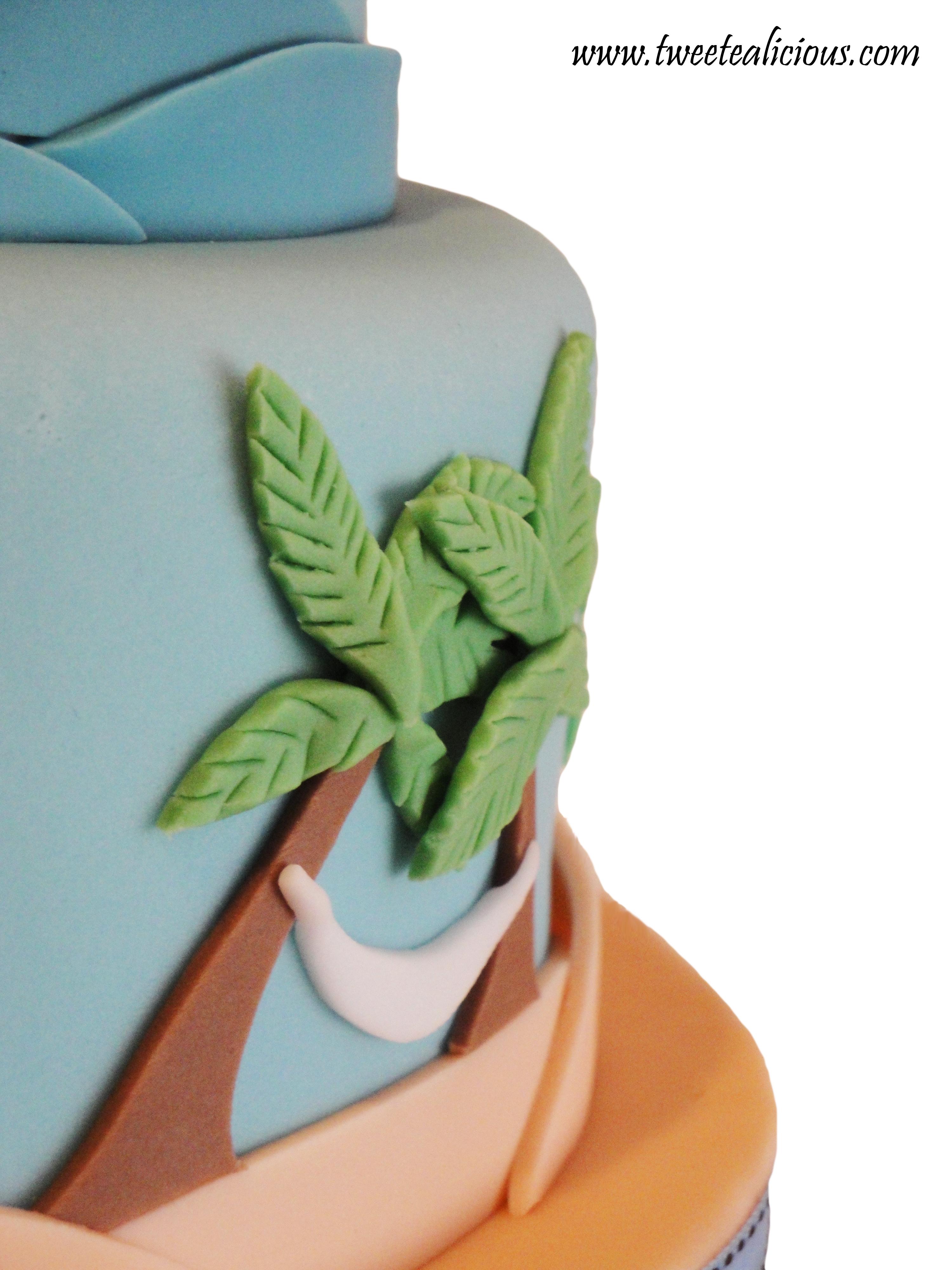 Peachy Beach Cake Palm Tree Twee Tea Licious Birthday Cards Printable Trancafe Filternl